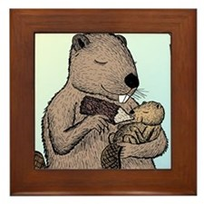 Mother Beaver and Baby Framed Tile