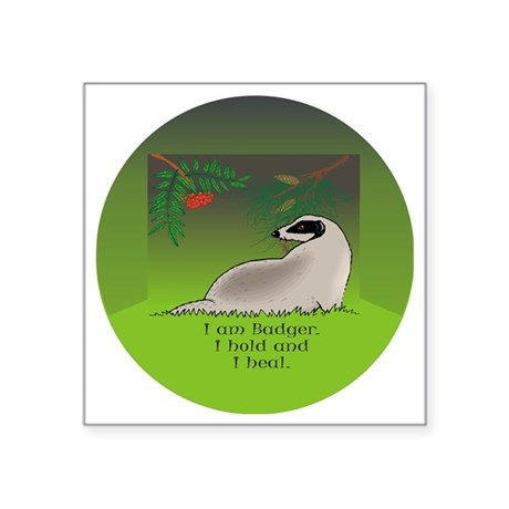 "Badger clock round Square Sticker 3"" x 3"""