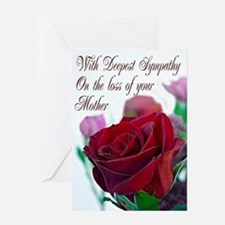 Sympathy on loss of mother, with a red rose Greeti