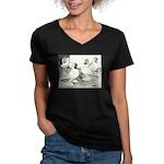 Moorhead Tumbler Pigeons Women's V-Neck Dark T-Shi