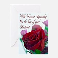 Sympathy on loss of husband, with a red rose Greet