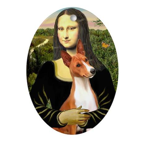 MonaLisa-Basenji#1 Oval Ornament