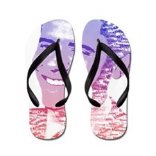 Obama USA Painted Name Red Picture Flip Flops