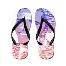 Obama USA Painted Name Red White Blue Flip Flops