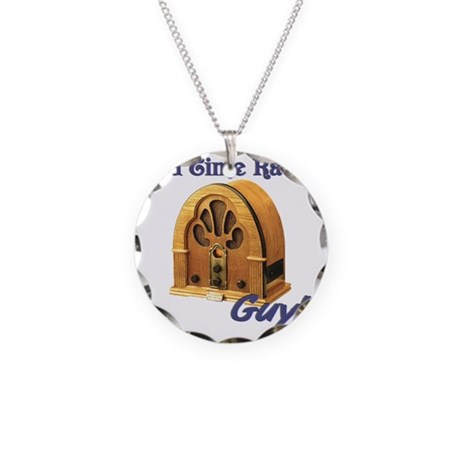 Old Time Radio Guy Necklace Circle Charm