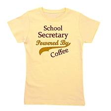School Secretary Powered By Coffee Girl's Tee