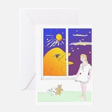 Golden Dolphin at Bronwens window Greeting Card