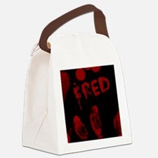 Fred, Bloody Handprint, Horror Canvas Lunch Bag