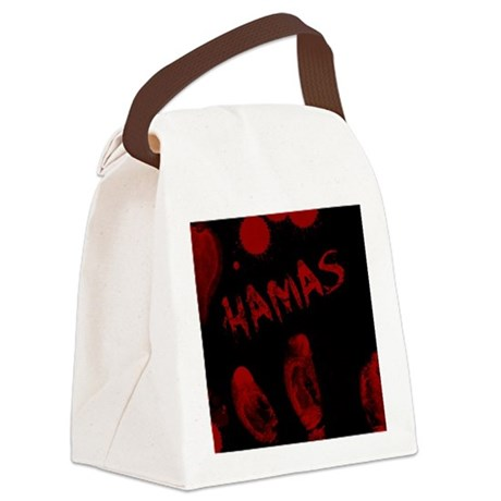 Hamas, Bloody Handprint, Horror Canvas Lunch Bag