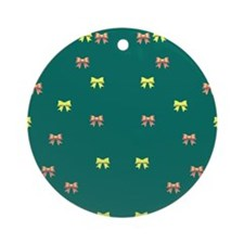 small ribbons green Ornament (Round)