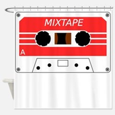 Red Cassette Tape Shower Curtain