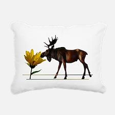 Flower Sniffin Moose Rectangular Canvas Pillow