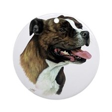 Staffordshire Bull Terrier Round Ornament