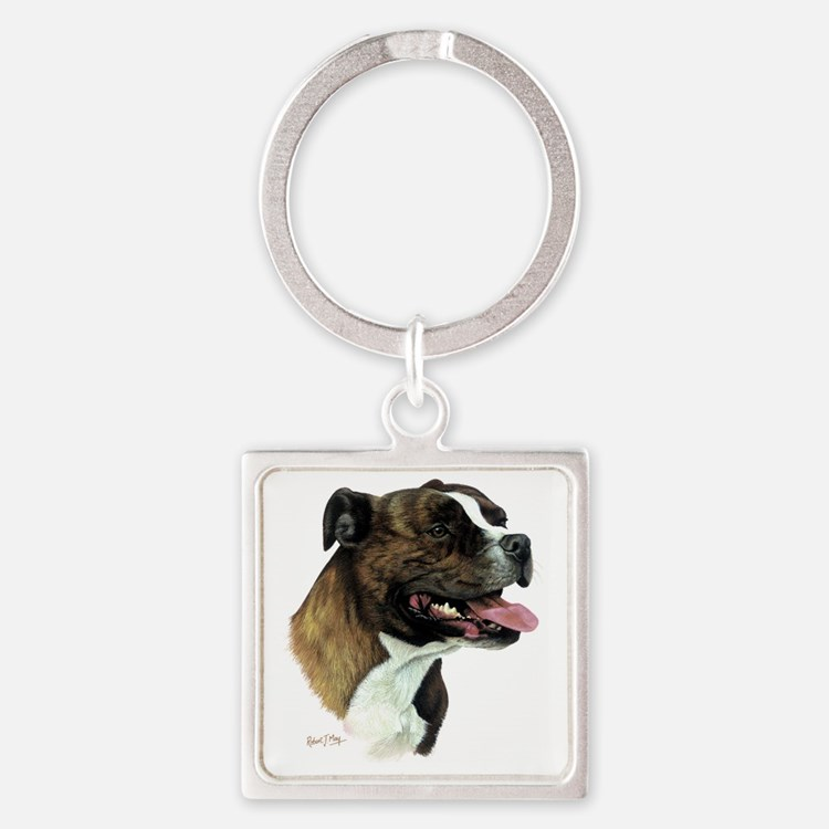 Staffordshire Bull Terrier Square Keychain