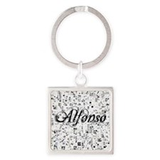 Alfonso, Matrix, Abstract Art Square Keychain