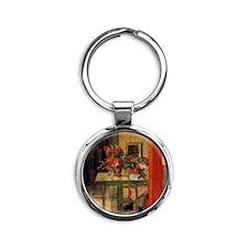 Carl Larsson Round Keychain