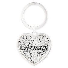Armani, Matrix, Abstract Art Heart Keychain