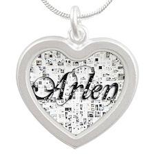 Arlen, Matrix, Abstract Art Silver Heart Necklace