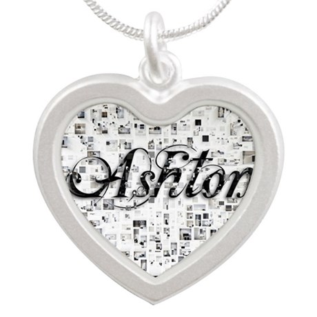 Ashton, Matrix, Abstract Art Silver Heart Necklace