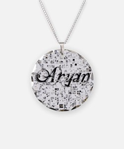 Aryan, Matrix, Abstract Art Necklace Circle Charm