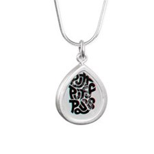 puff puff pass Silver Teardrop Necklace