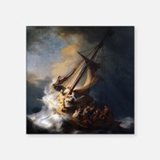 "Rembrandt The Storm on the  Square Sticker 3"" x 3"""