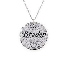 Braden, Matrix, Abstract Art Necklace Circle Charm