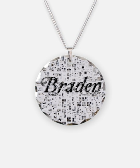 Braden, Matrix, Abstract Art Necklace Circle Charm