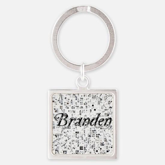 Branden, Matrix, Abstract Art Square Keychain