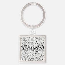 Brayden, Matrix, Abstract Art Square Keychain