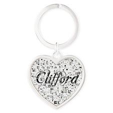 Clifford, Matrix, Abstract Art Heart Keychain