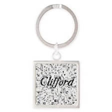 Clifford, Matrix, Abstract Art Square Keychain