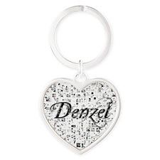 Denzel, Matrix, Abstract Art Heart Keychain