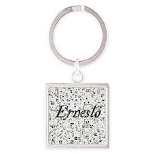 Ernesto, Matrix, Abstract Art Square Keychain