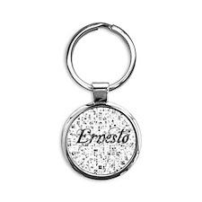 Ernesto, Matrix, Abstract Art Round Keychain