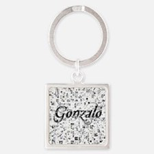 Gonzalo, Matrix, Abstract Art Square Keychain