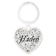 Haden, Matrix, Abstract Art Heart Keychain