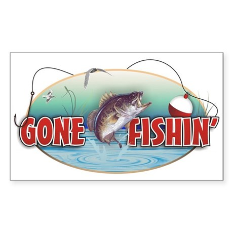 Gone Fishin' Decal (white)