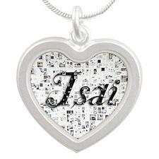 Isai, Matrix, Abstract Art Silver Heart Necklace