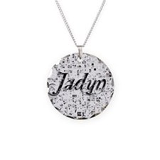 Jadyn, Matrix, Abstract Art Necklace Circle Charm