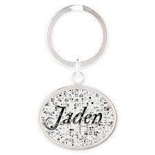 Jaden, Matrix, Abstract Art Oval Keychain