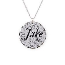 Jake, Matrix, Abstract Art Necklace Circle Charm