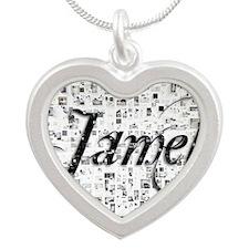 Jamel, Matrix, Abstract Art Silver Heart Necklace