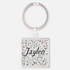 Jaylen, Matrix, Abstract Art Square Keychain