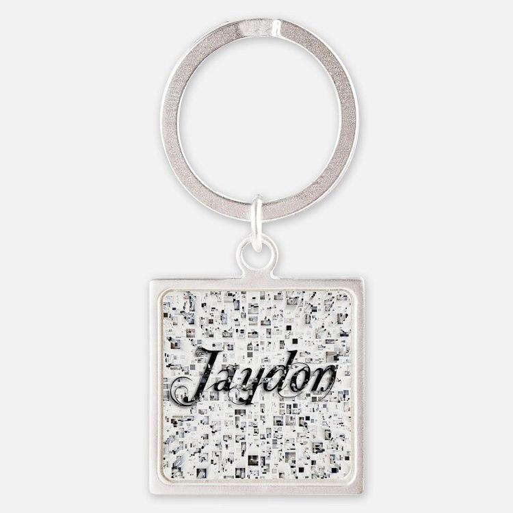 Jaydon, Matrix, Abstract Art Square Keychain