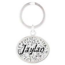 Jaylan, Matrix, Abstract Art Oval Keychain