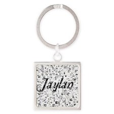 Jaylan, Matrix, Abstract Art Square Keychain