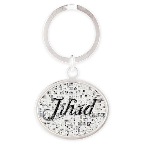 Jihad, Matrix, Abstract Art Oval Keychain