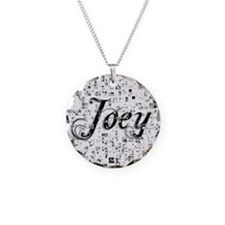 Joey, Matrix, Abstract Art Necklace Circle Charm