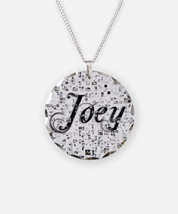 Joey, Matrix, Abstract Art Necklace Circle Charm